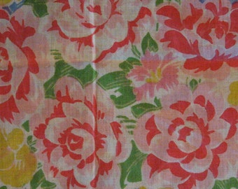 Vintage Cotton Handkerchief - Pink and Yellow Roses on Blue