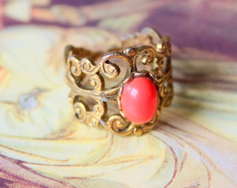 Vintage Ring Coral Brass Filigree Vintage