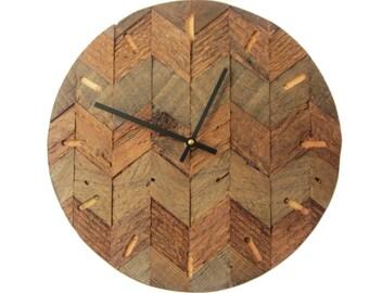 Reclaimed wood chevron wall clock