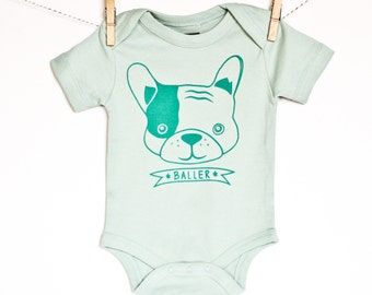 Baller - puppy hand printed organic baby bodysuit