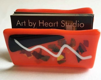 Orange & black with colorful details Glass Business Cards holder - ITEM IN STOCK