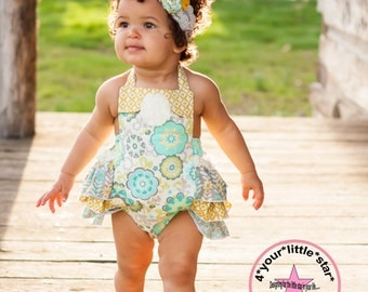 Summer Vintage Collection Lace Ruffled Bottom Romper Bloomer Infants and Toddler Girls 0-3 mos to 5t