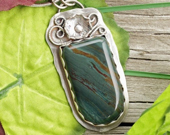 Oregon Larsonite,  Petrified Bog Wood, Larsonite Pendant, Bog Wood Jewelry, Oregon Jewelry, Sterling Silver