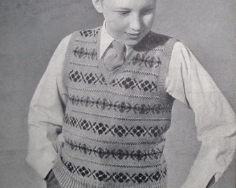 Vintage 40s Knitting Pattern Boys V-Neck Pullover Vest 12 13 14 years Traditional Fair Isle Design 1940s original pattern P & B UK no. 352