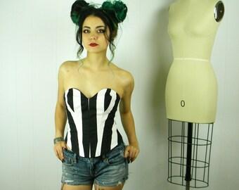 Stripe Bustier, Black Stripe Bustier, Black Stripe Corset, Striped Bustier Top, Corset Top
