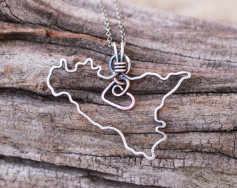 Sicily Necklace, Country, Wire Outline, Oxidized Copper