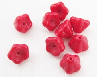 Bead, Czech Pressed Glass, Opaque Red, 8.5x6.5mm Flower