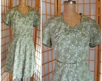 50s cotton floral print garden party dress womens size large