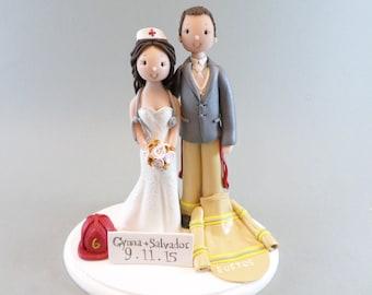 Cake Topper Personalized Firefighter & Nurse Wedding