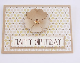 Art Deco Handmade Birthday Card, Floral Birthday Card