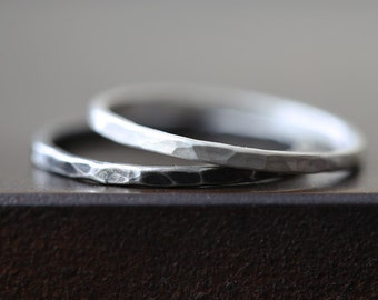 Hammered Sterling Silver Stacking Rings