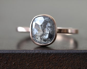 Natural Silver- Grey Rose Cut Cushion Diamond Ring