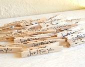 Set of 12 Wooden Stamped Clothespins 'Just For You' Thank you gift