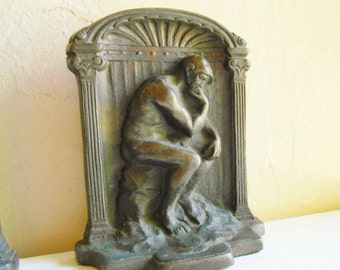 Antique Bronze The Thinker Bookends Book Holder Pair Matching Two 2 Heavy Metal