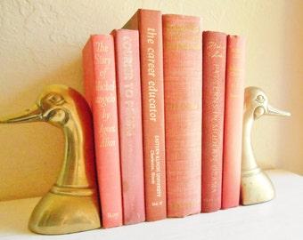 Vintage Brass Duck Bookends Book Holder Pair Matching