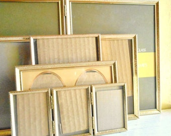 Matching Hollywood Regency Gold Metal Picture Frames All Sizes 8x10 5x7 Bi-fold Folding