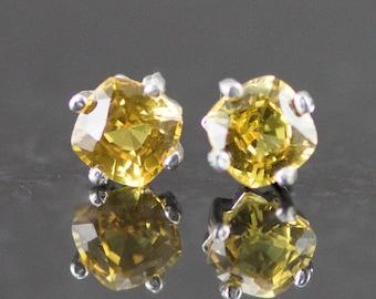 Yellow Sapphire Studs - Cushion Cut 5mm - Orange Sapphire Post Earrings