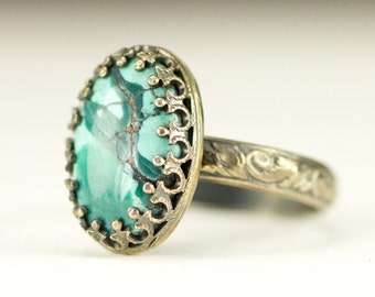 Turquoise Sterling Ring - Turquoise Boho Stack Ring on Leaf Pattern Band