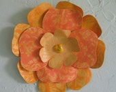 Metal floral art decor dahlia flower kitchen bathroom dining room wall hanging yellow orange 7 inches