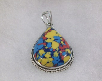 Colorful Mosaic Jasper and Silver Pendant/Necklace, Natural Stone