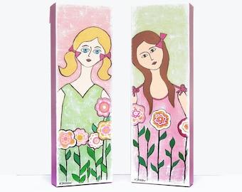 Original Girl Painting, Two Girls Best Friends, Girls Room Decor Whimsical Folk Art Friendship Gift