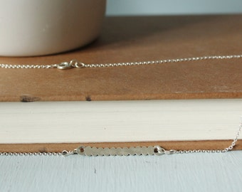Rounded Sterling Silver Bar Necklace.