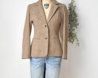 Tweed Vintage Riding 1960s Jacket Tailored Fit Blazer Leather Elbows S