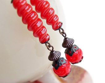 Red Dangle Drop Earrings Long Red Earrings Eco Friendly Vintage Twist Carved Red Lucite Beads Vintage Cinnabar Style
