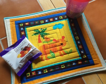 Tiger snack mat - bright and fun - oversized coaster - mini placemat - Mug Rug / children / gift idea / zoo / quilted / Robert Kaufman