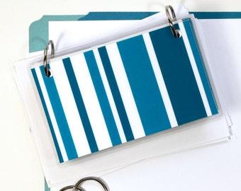 3 x 5 Index Card or Note Card Binder, Blue Stripe