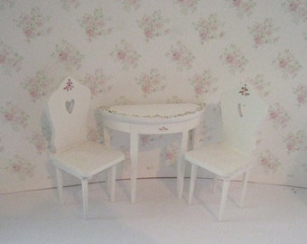 Dollhouse Demi Lune table and chairs. tea room table, half table , Twelfth scale dollhouse miniature