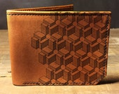 wallet - leather wallet - mens wallet - Box pattern wallet - 004