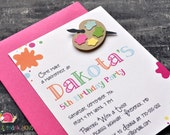 Paint Splatter Birthday Party Invitations · A2 Flat · Fuchsia Pink · Painting Party | Artist | Painter's Palette