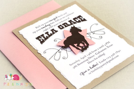 Rustic Cowgirl Invitations · A2 LAYERED · Pink and Brown · Birthday Party | Country Western | Horse Party | Cowgirl Chic