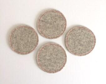 Wool Felt Coaster Set: Heather Flax Ground - Neon Pink Stitching