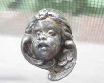 Silver Art Nouveau Hatpin:  Winged Baby Angel