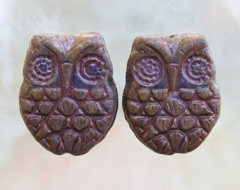 18x15mm Opaque Purple with Copper Patina Czech Glass Horned Owl Beads - Qty 6 (BS251)