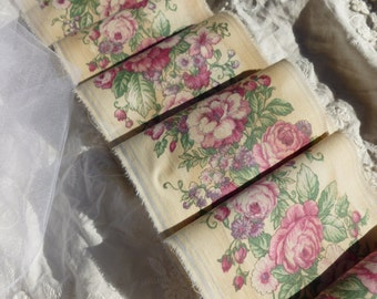 Vintage and softly Distressed Floral Handmade Ribbon - Super LONG 140 Inches LONG!