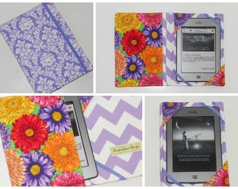 Kindle Case Hardcover, Kindle Fire HD, Nook HD, Kobos, Lavender Damask Zinnia eReader Cover