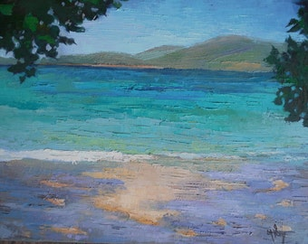 "Painting on Sale, Tropical Painting, Island Seascape, Daily Painting, Palette Knife art,  ""Caribbean"" 16x20x1.5"" Oil, Reduced from 595.00"