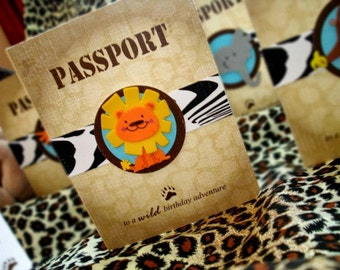 Passport Safari Jungle Birthday invite