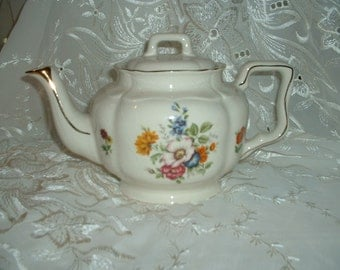 "Vintage Arthur Wood Made in England 5665 6"" Floral Teapot"