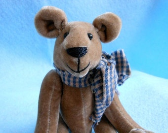Small Tan Teddy Bear Handmade with Homespun Bow and Cinnamon Heart, Stuffed Animal, Stuffed Bear