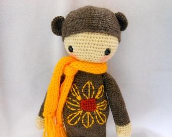 Crochet Teddy Bear with Sunflower and Bright Yellow Scarf, Stuffed Animal