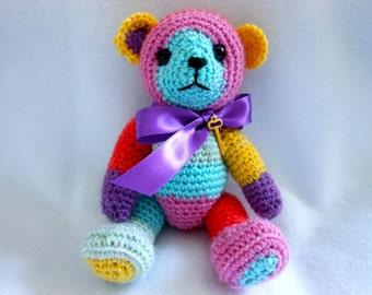 Small Crochet Teddy Bear in MultiColor Stripe Yarn,  Gummy Bear Sock Yarn, Gold Key, Stuffed Bear, Stuffed Animal, OOAK