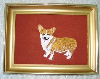 Corgi Dog Portrait Embroidered, Framed