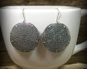 Silver Earrings, Bohemian Earrings, Gypsy Earrings, Boho Jewelry, Large Circle Earrings, Moroccan Earrings, Old World Silver, Gypsy Jewelry