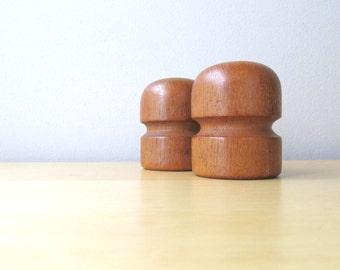 mid century teak wood salt and pepper shakers danish design