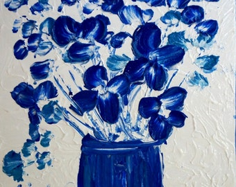 sale FLOWERS Bouquet in White Blue Colors Original Palette Impasto Oil Painting by Luiza Vizoli