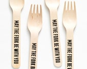 Star Wars - May The Fork Be With You - Set Of 20 Wooden Forks